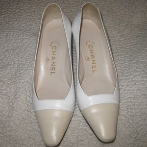 White CHANEL Heels *Two Tone* *6